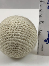 Hand knit Crocheted Ball 2-inch Solid White