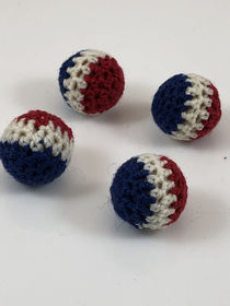 "Hand-Knit 4 Balls for Cups & Balls 3/4"" Multi color"