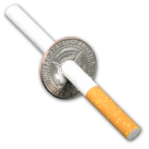 Cigarette, Bill or Pencil Thru a Half-Dollar Coin