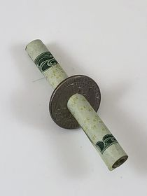 Cigarette, Bill or Pencil Thru Quarter