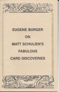 SIGNED Copy of Eugene Burger on Matt Schulien's Fabulous Card Discoveries